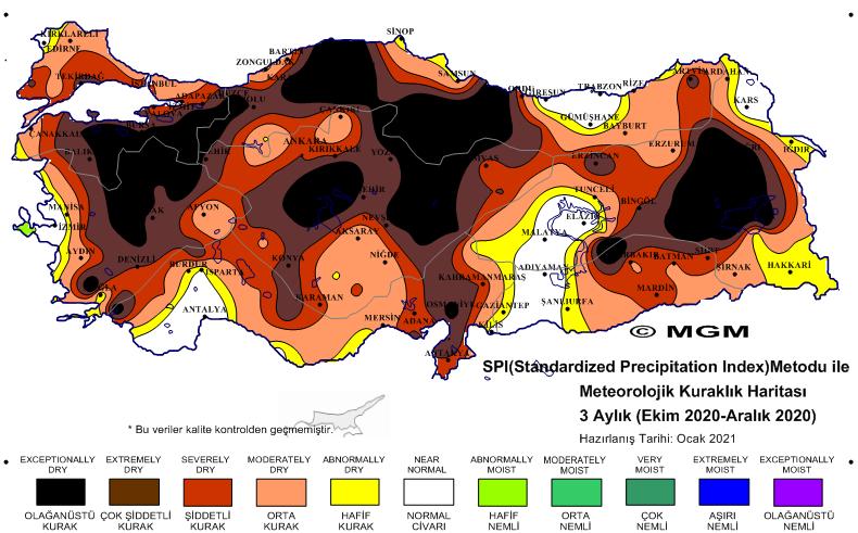 meteoroloji kuraklık haritası