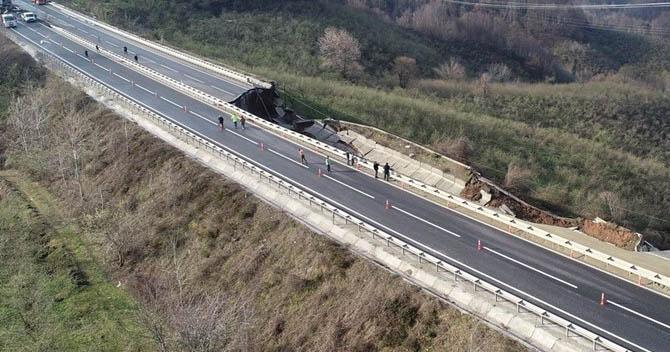 D655 Karayolu Heyelan Sebebiyle 85 metre çöktü