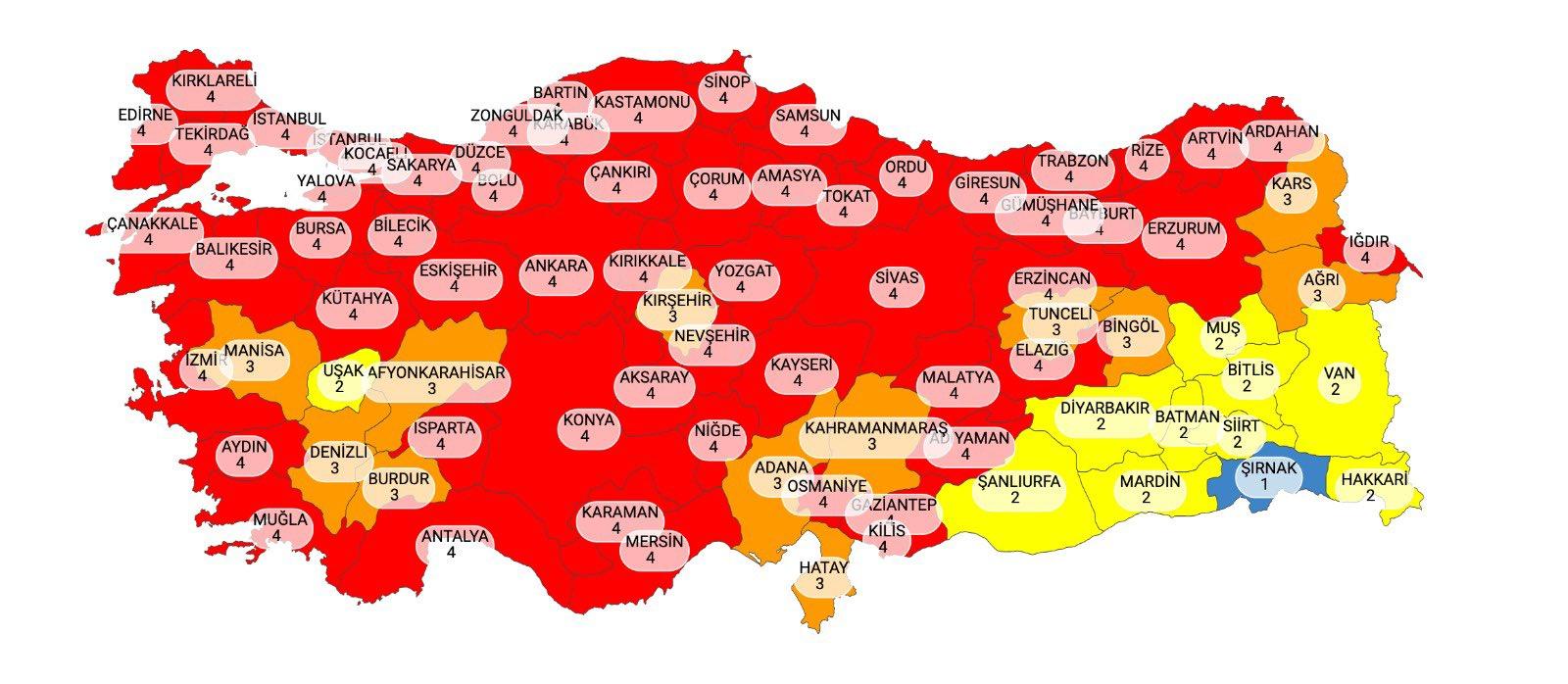 İllere Göre Koronavirüs Vaka Sayıları ve Koronavirüs Risk Haritası